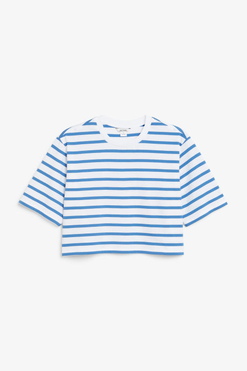 Front image of Monki cropped retro tee in blue
