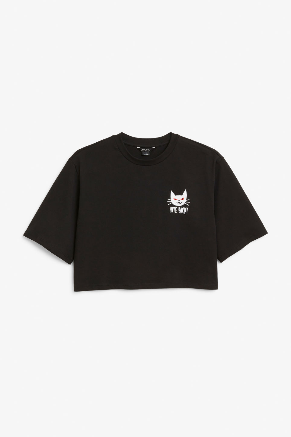 Front image of Monki cropped retro tee in black