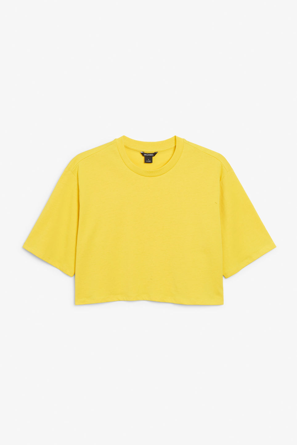 Front image of Monki cropped tee in yellow