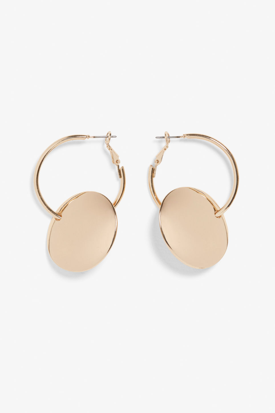 Front image of Monki golden hoops in gold