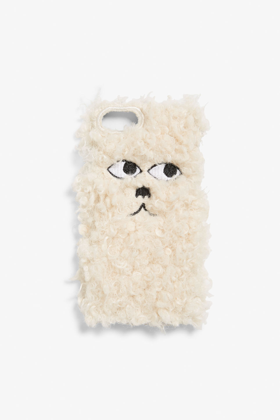 Front image of Monki fluffy phone case in white