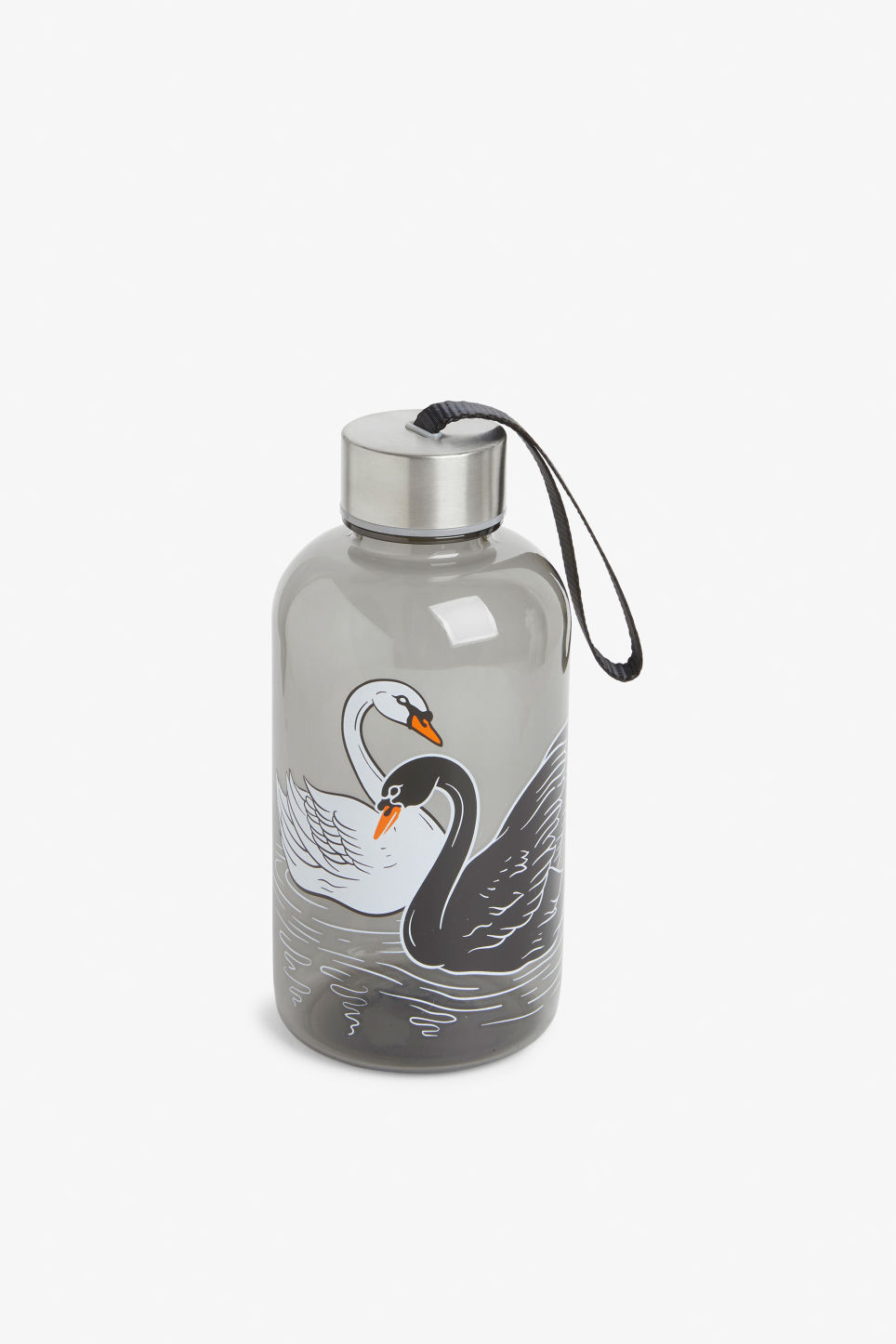 Front image of Monki water bottle in black