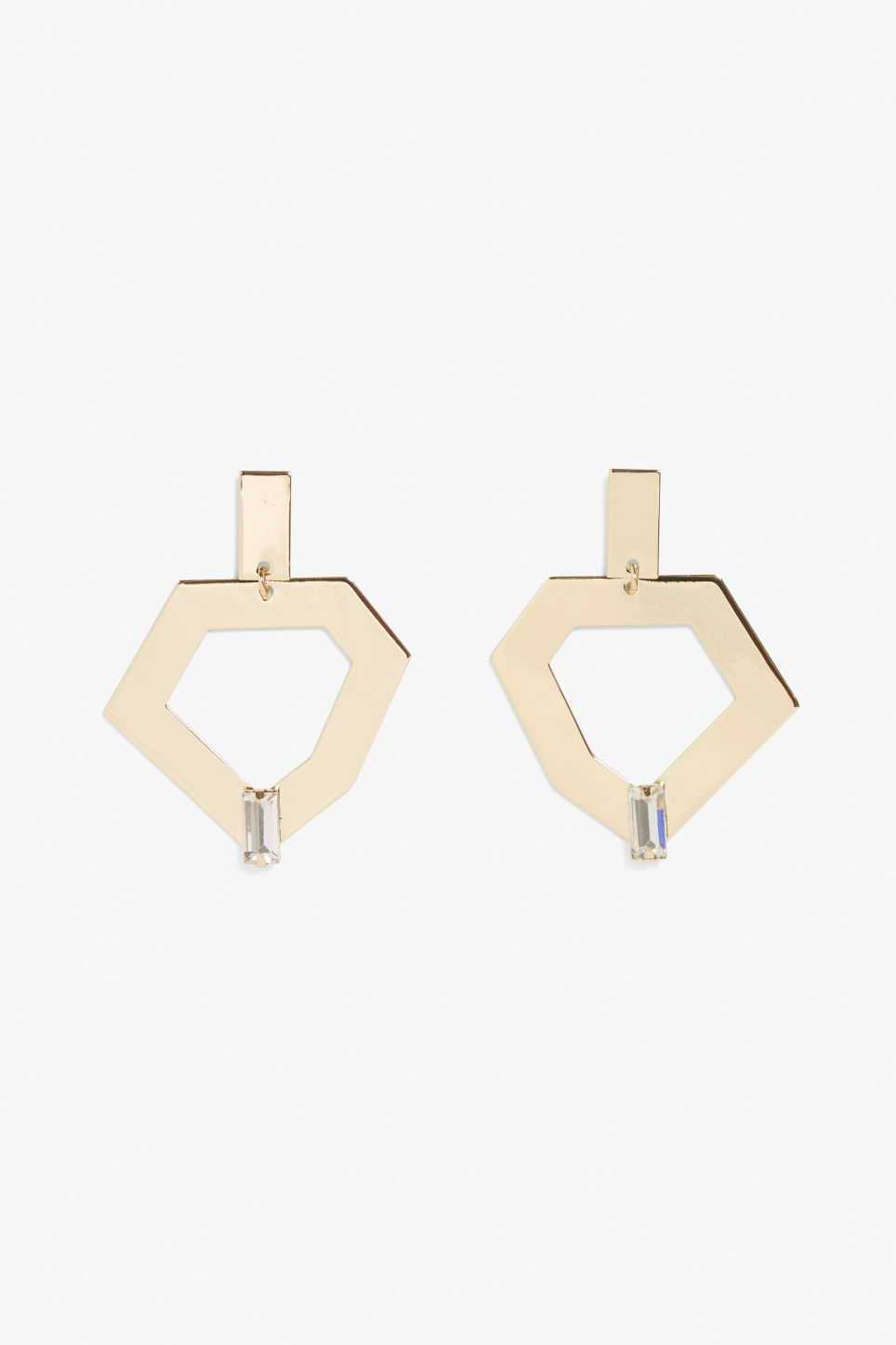 Front image of Monki irregular earrings in gold
