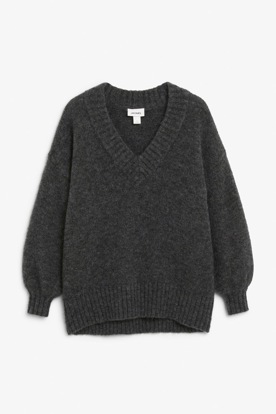 Front image of Monki super-soft v-neck sweater in grey