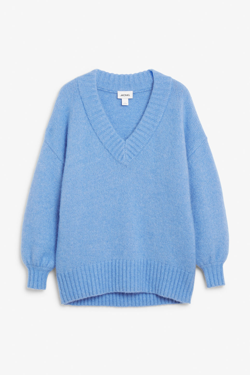 Front image of Monki super-soft v-neck sweater in blue