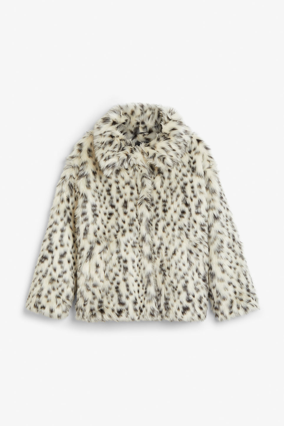 Front image of Monki faux fur jacket in white