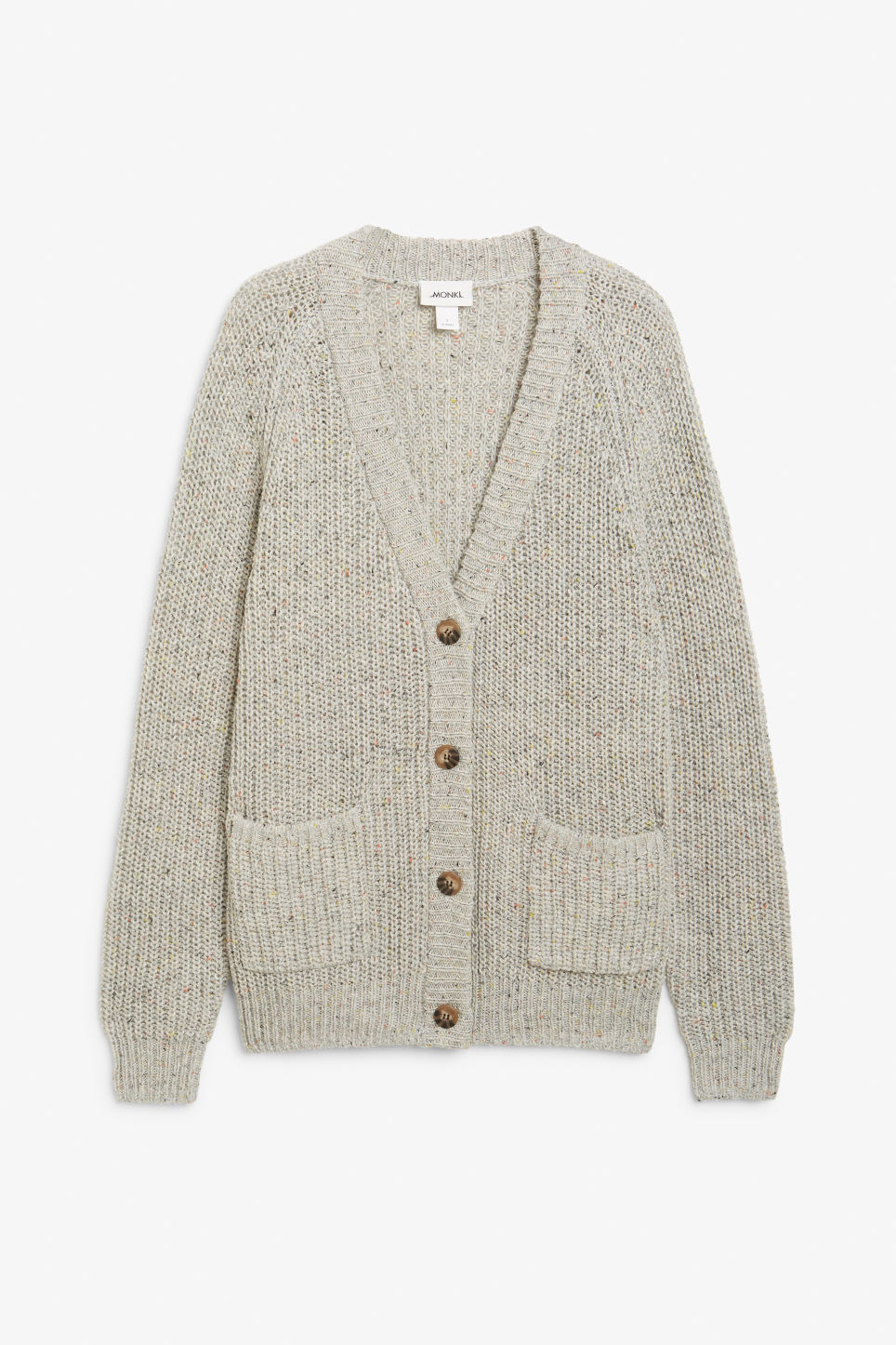 Front image of Monki oversized chunky cardigan in grey