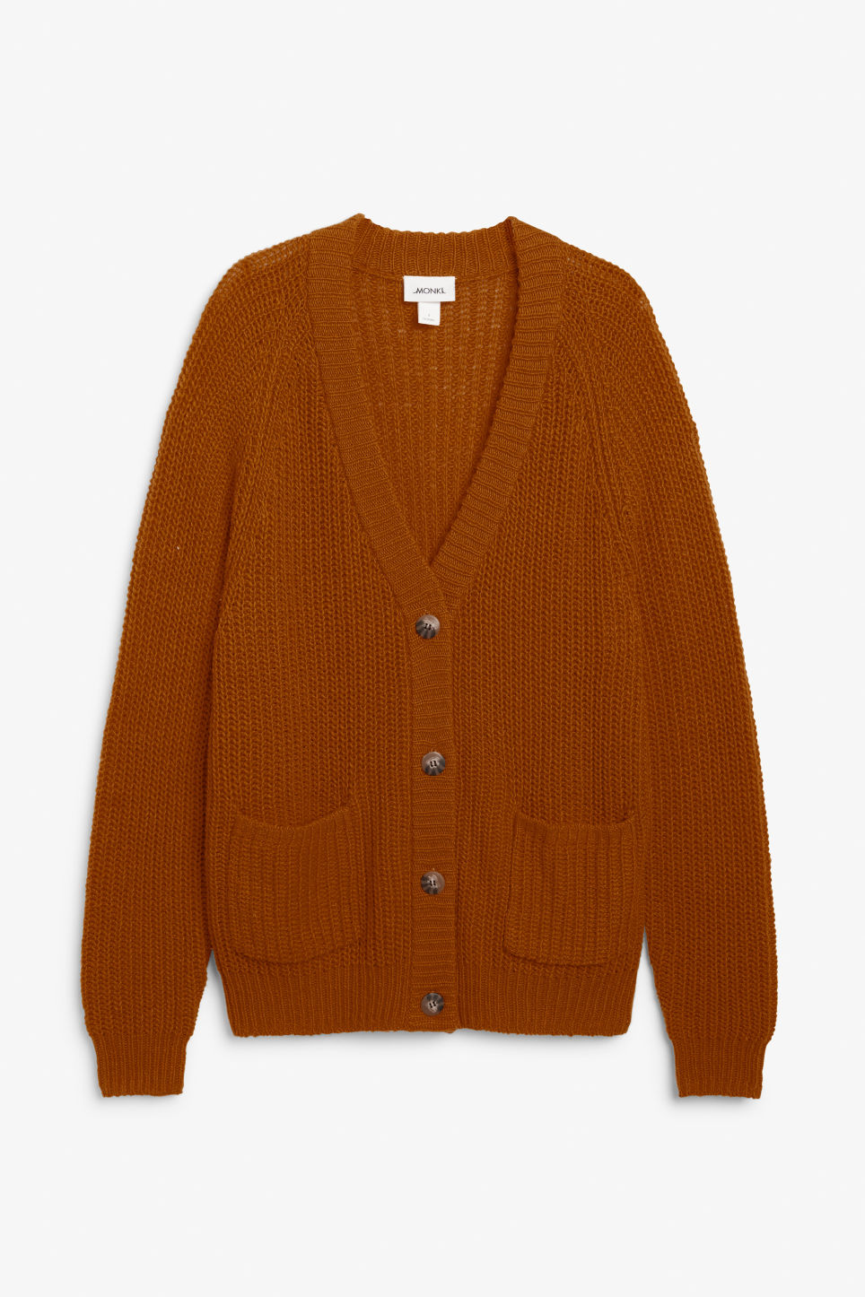 Front image of Monki oversized chunky cardigan in orange