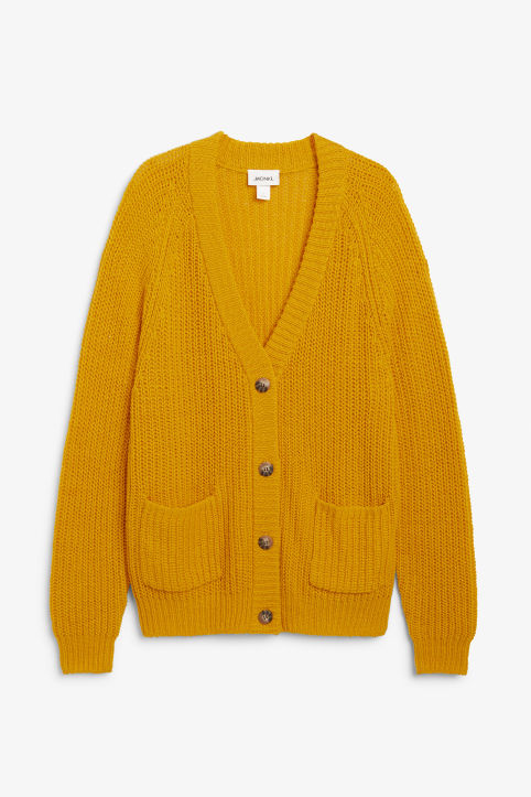 Front image of Monki oversized chunky cardigan in yellow