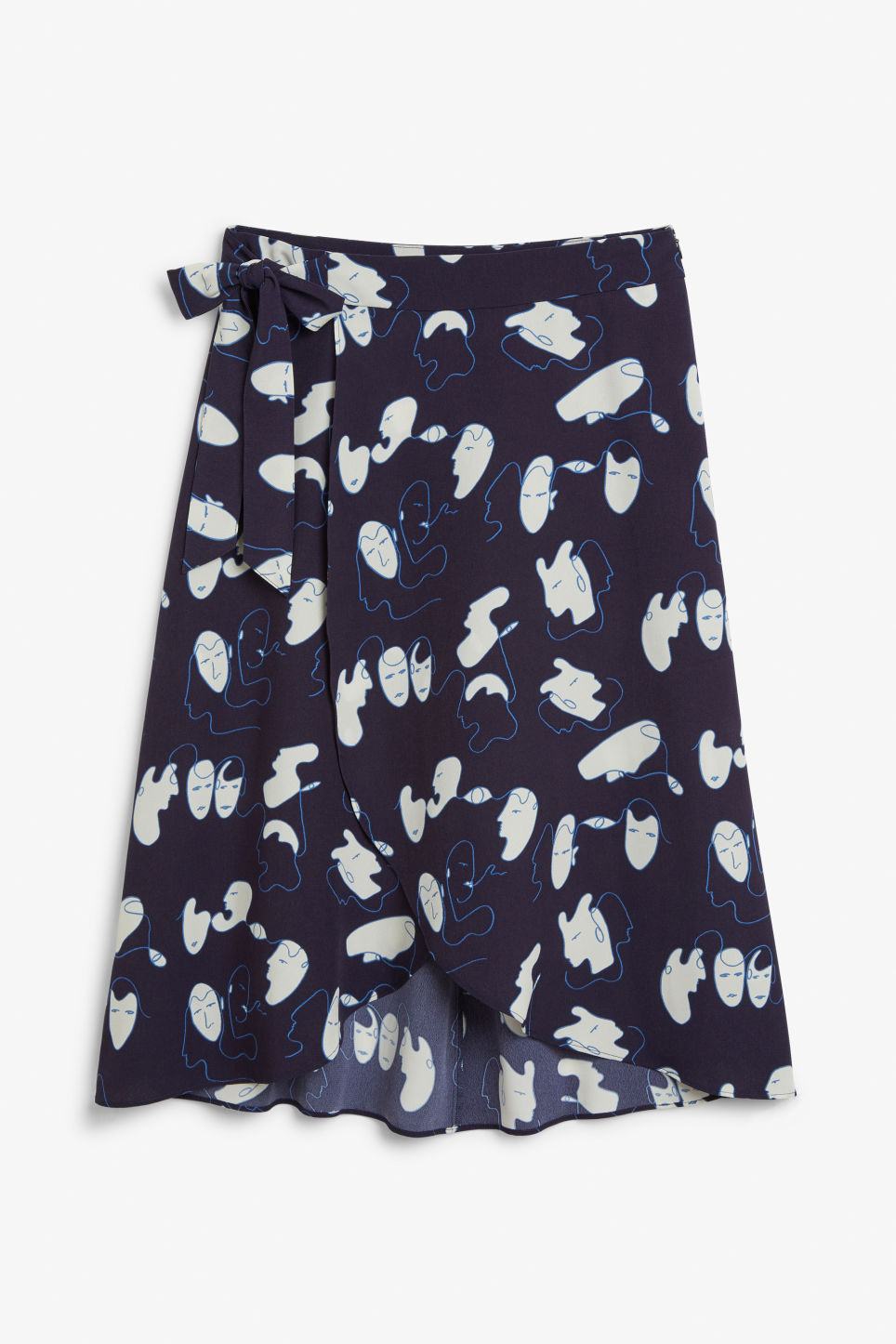 Front image of Monki wrap front skirt in blue