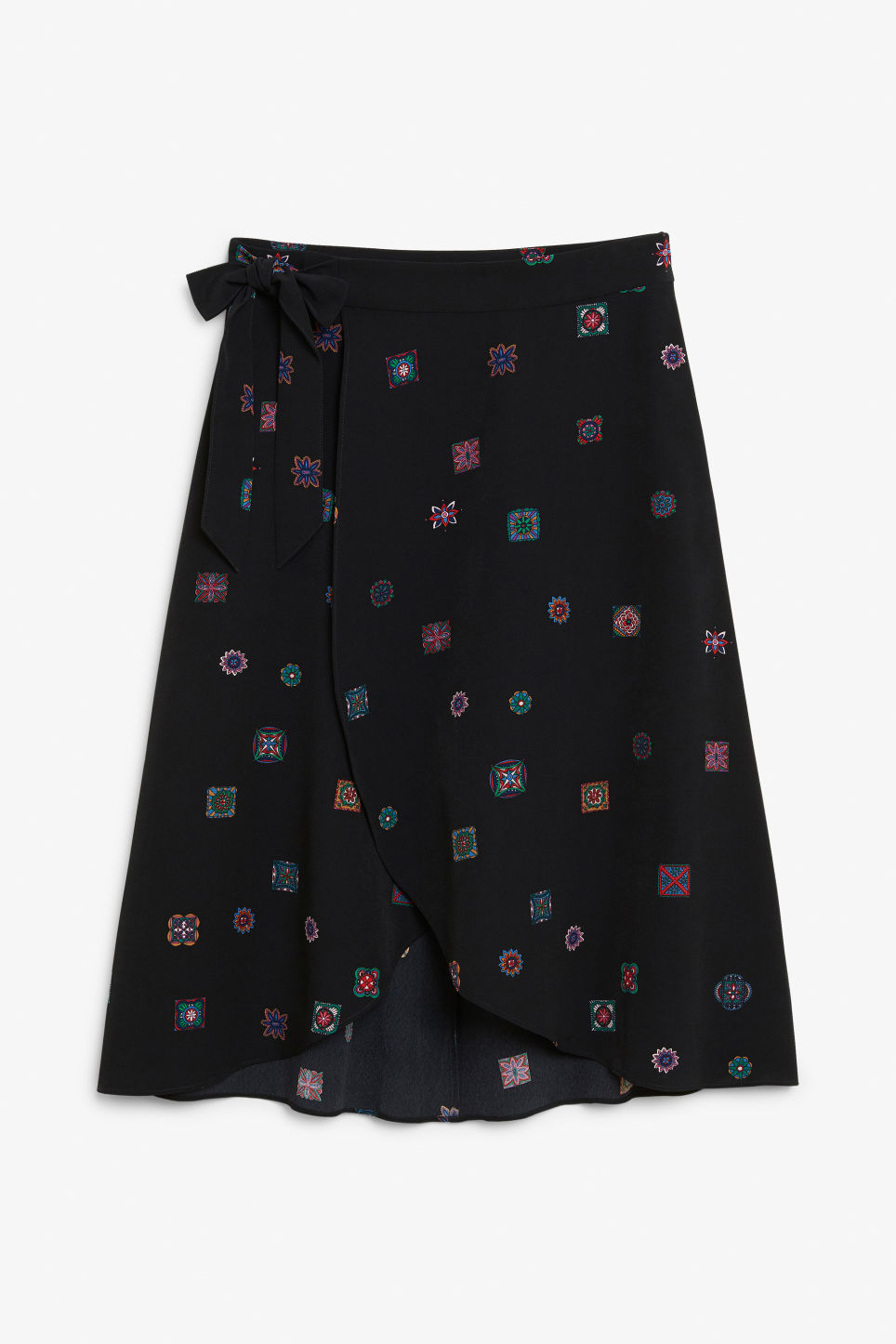 Front image of Monki wrap front skirt in black