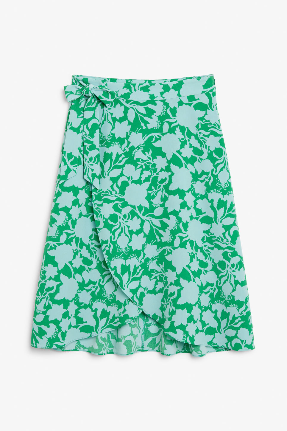 Front image of Monki wrap front skirt in green