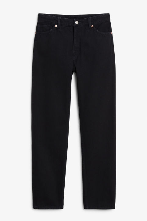 Front image of Monki moluna x-long black jeans in black