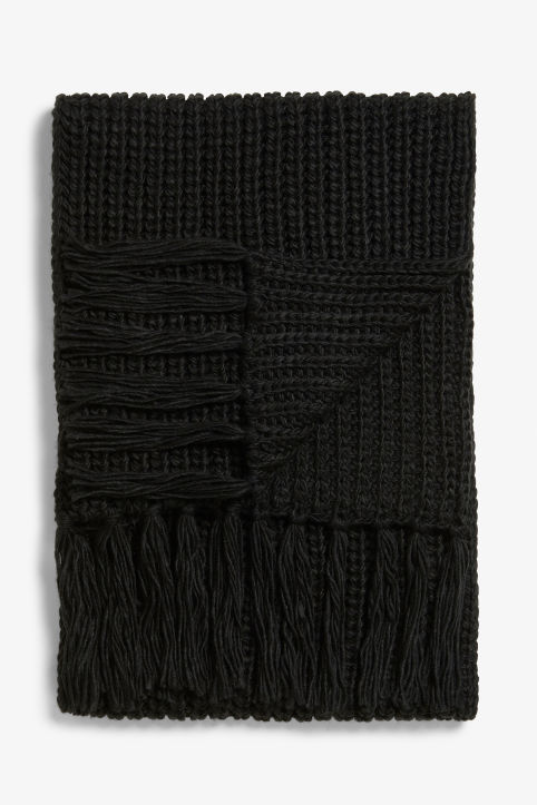 Front image of Monki long cosy scarf in black