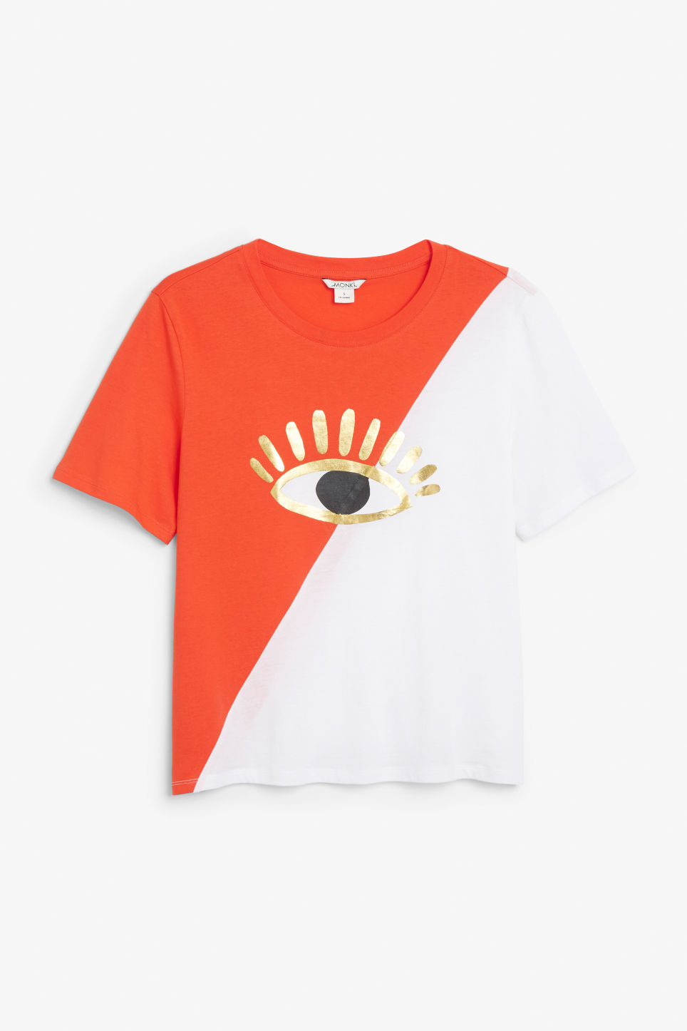 Front image of Monki oversized block tee in white