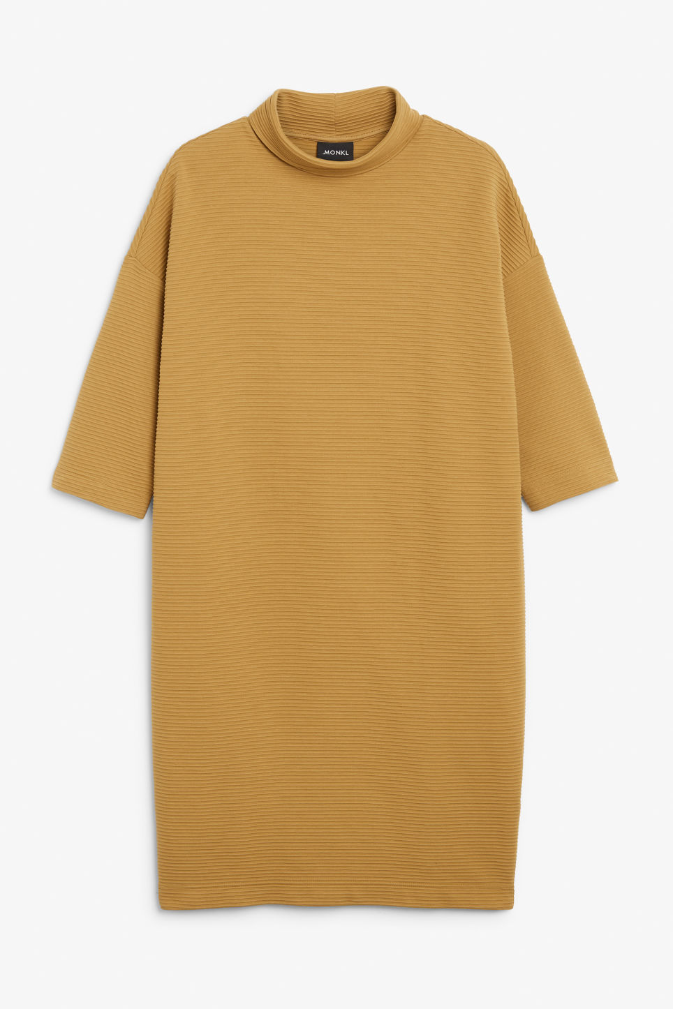 Front image of Monki ribbed turtleneck dress in yellow