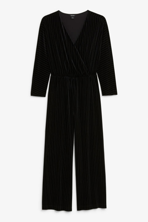 Front image of Monki wrap jumpsuit in black