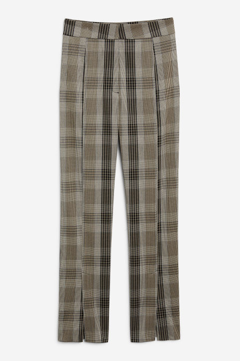 Front image of Monki front pleat trousers in beige