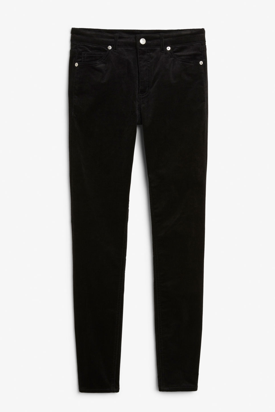 Front image of Monki corduroy trousers in black