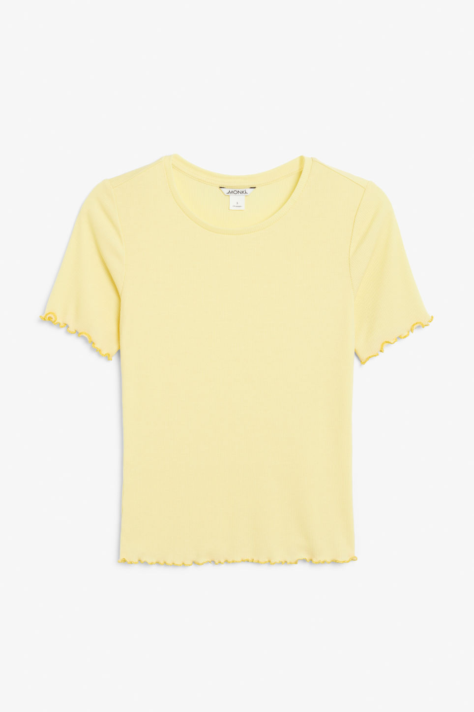 Front image of Monki frill hem t-shirt in yellow