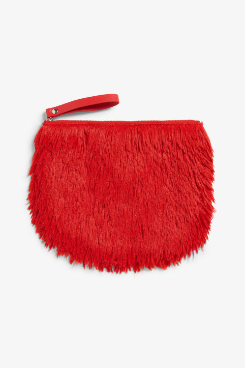 Fluffy zip clutch