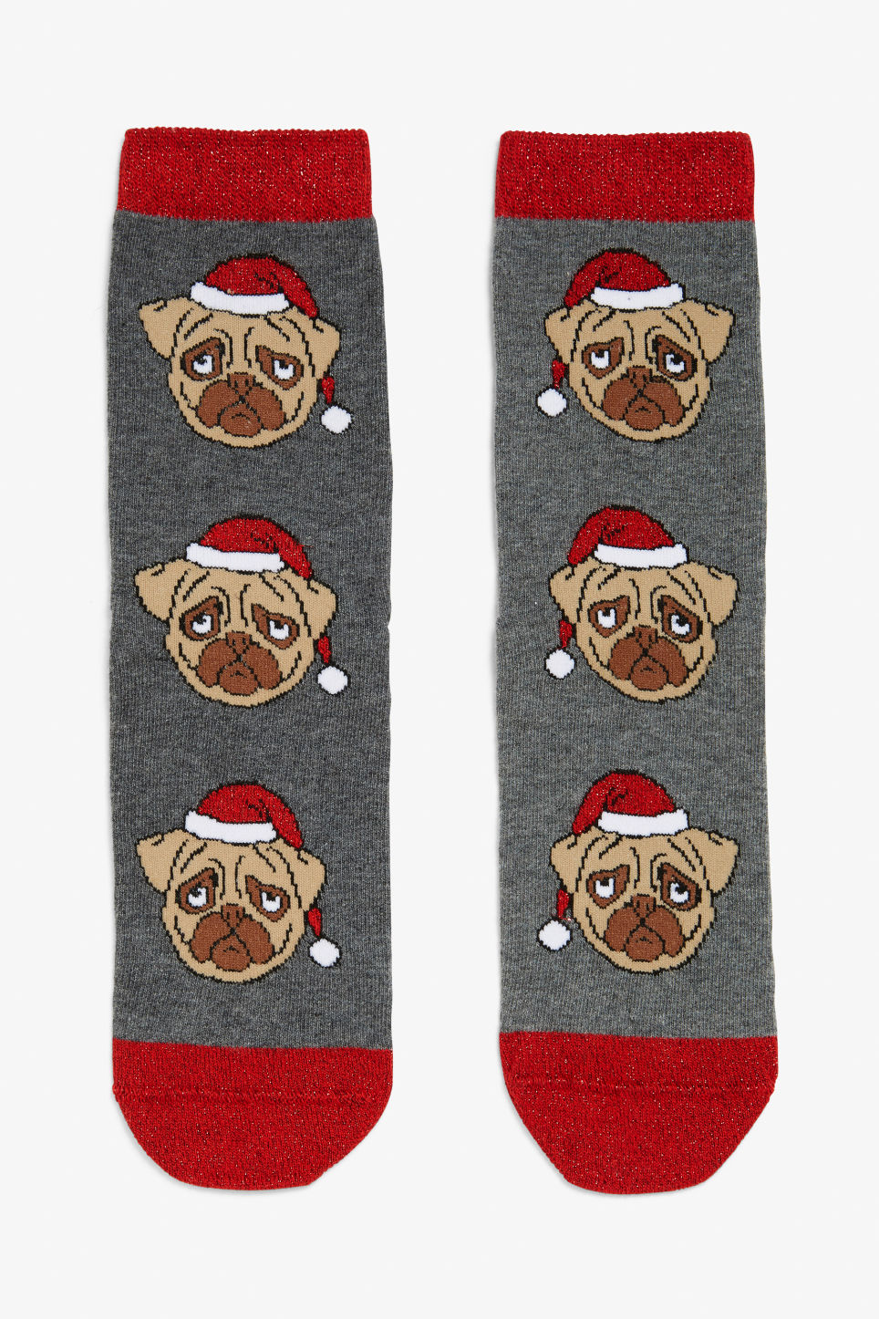 Front image of Monki x-mas socks in red
