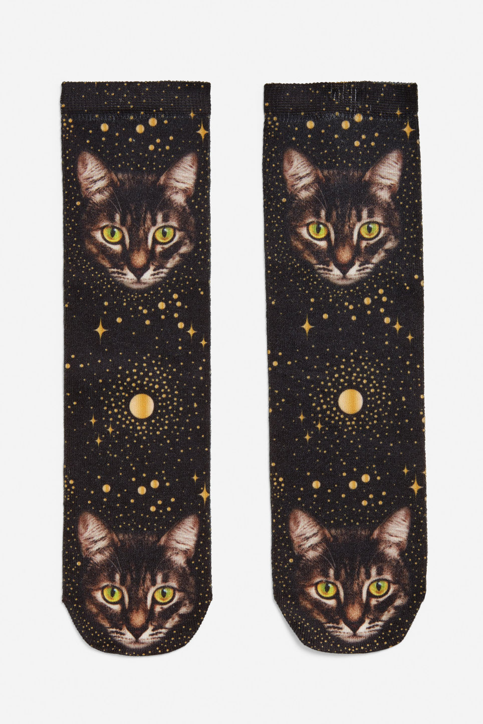 Front image of Monki space cat socks in brown