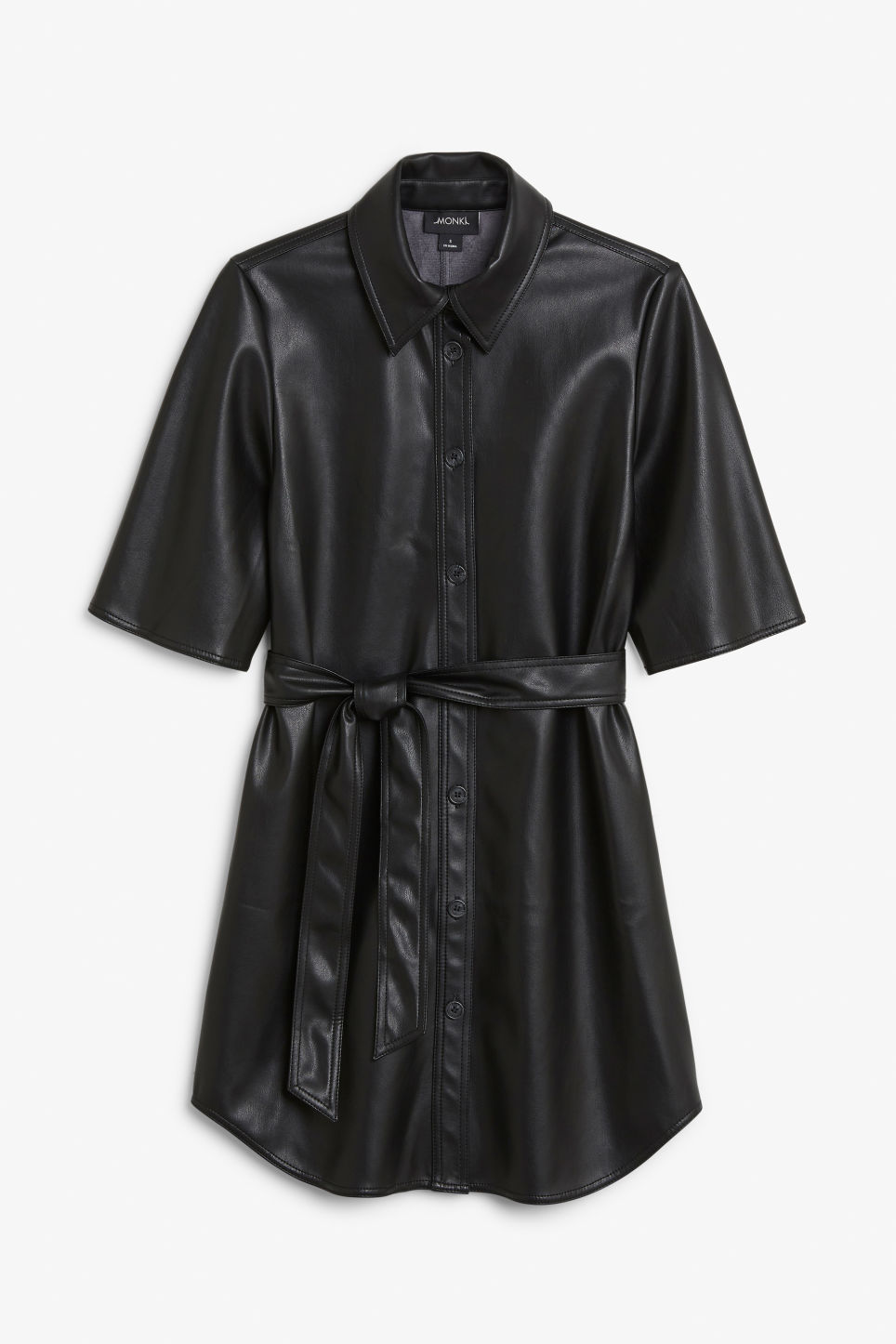 Front image of Monki faux leather dress in black