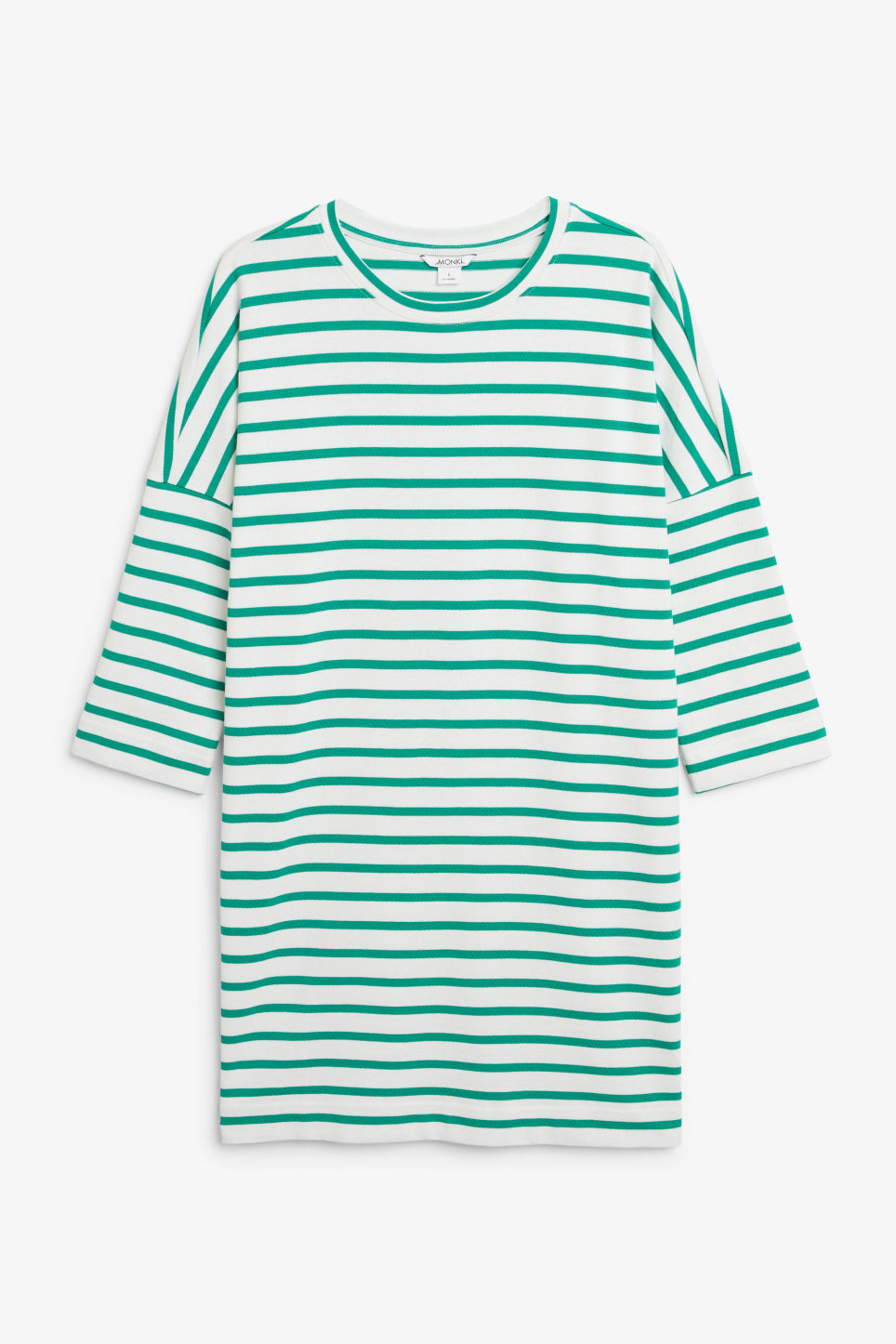 Front image of Monki cotton dress in green