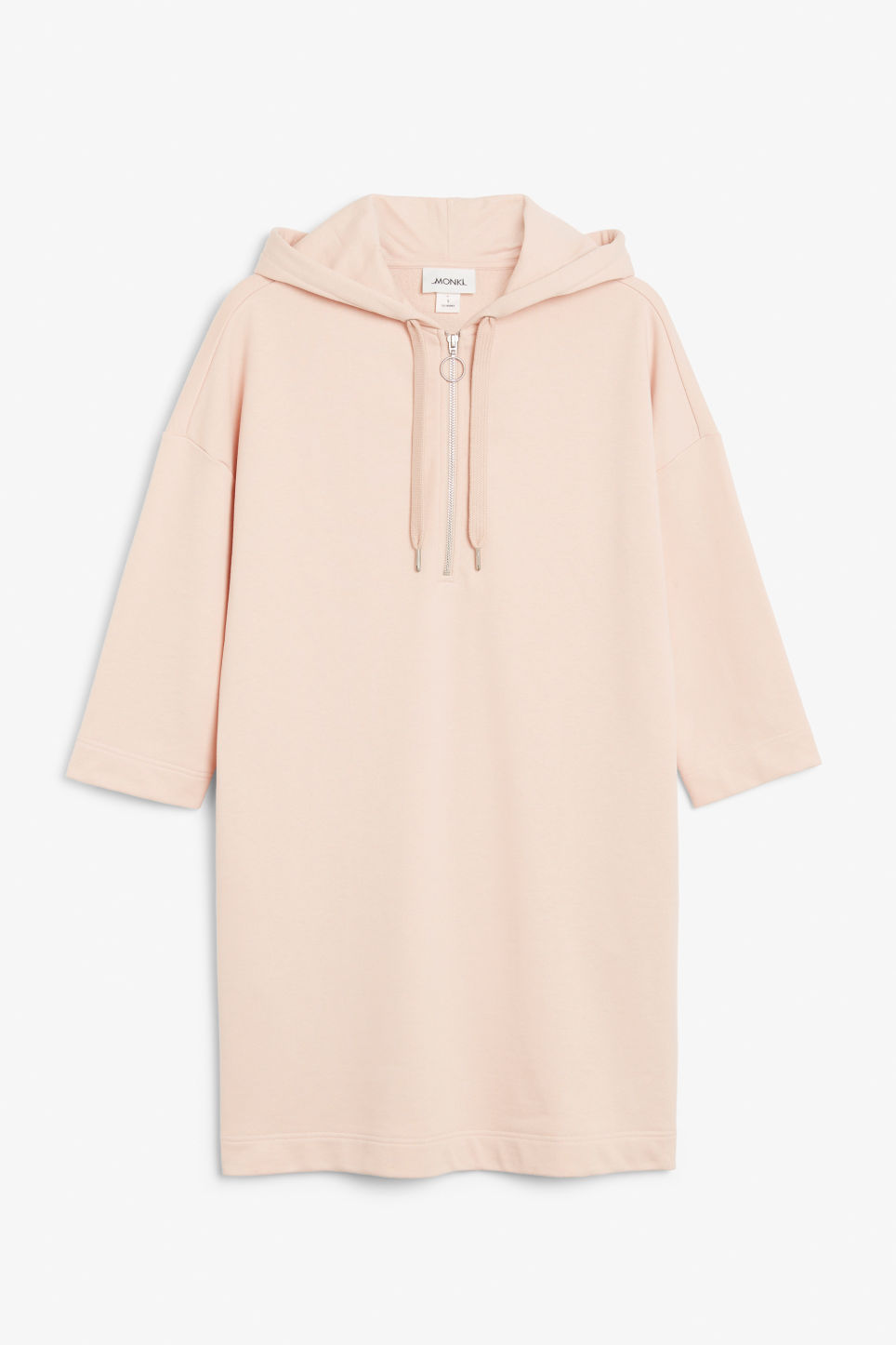 Front image of Monki long hoodie dress in pink