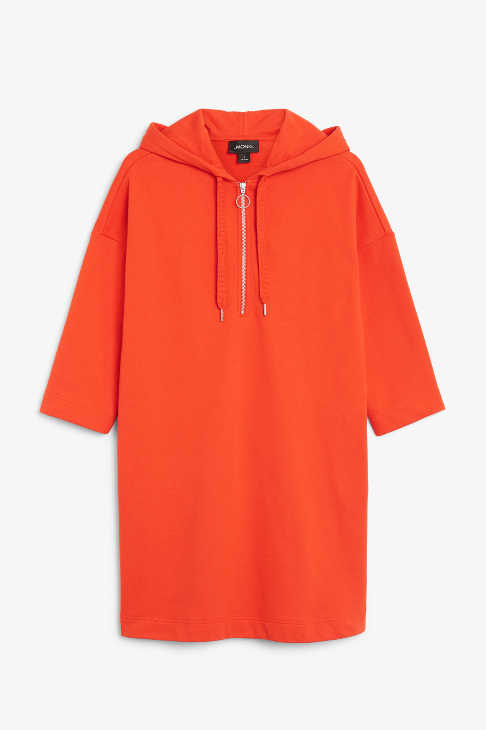 Front image of Monki long hoodie dress in red
