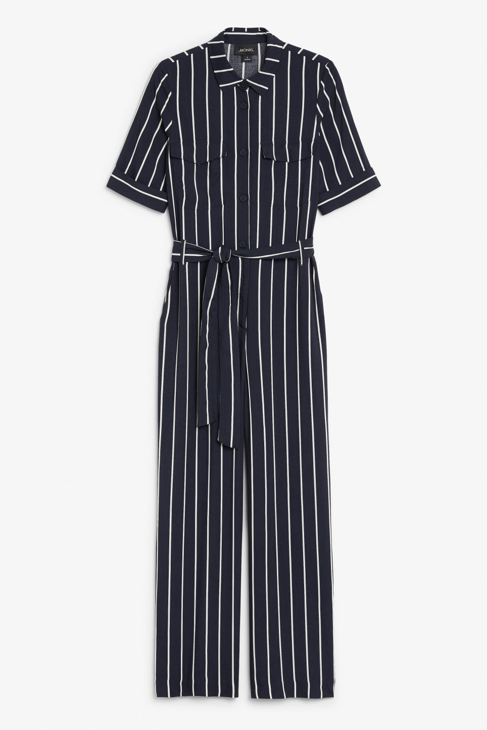 Front image of Monki utilitarian jumpsuit in blue