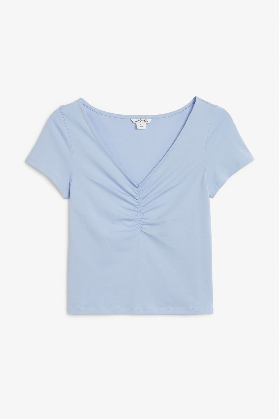 Front image of Monki ruched front top in blue