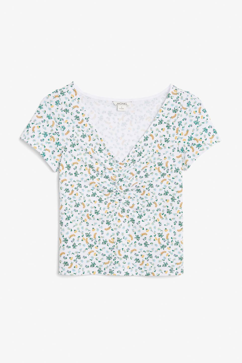 Front image of Monki ruched front top in white