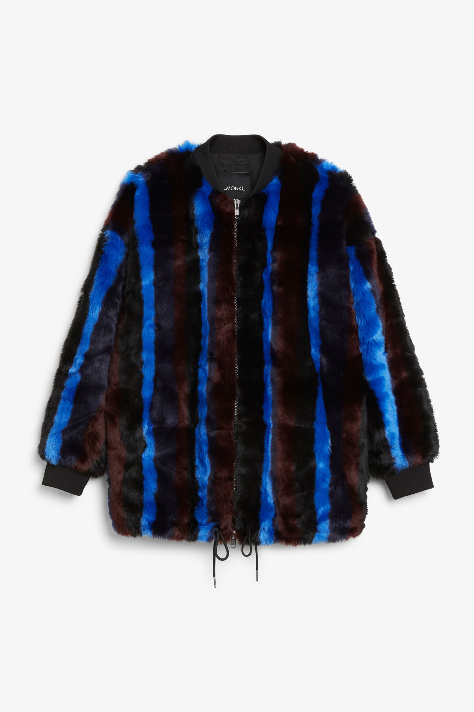 Front image of Monki faux fur jacket in black