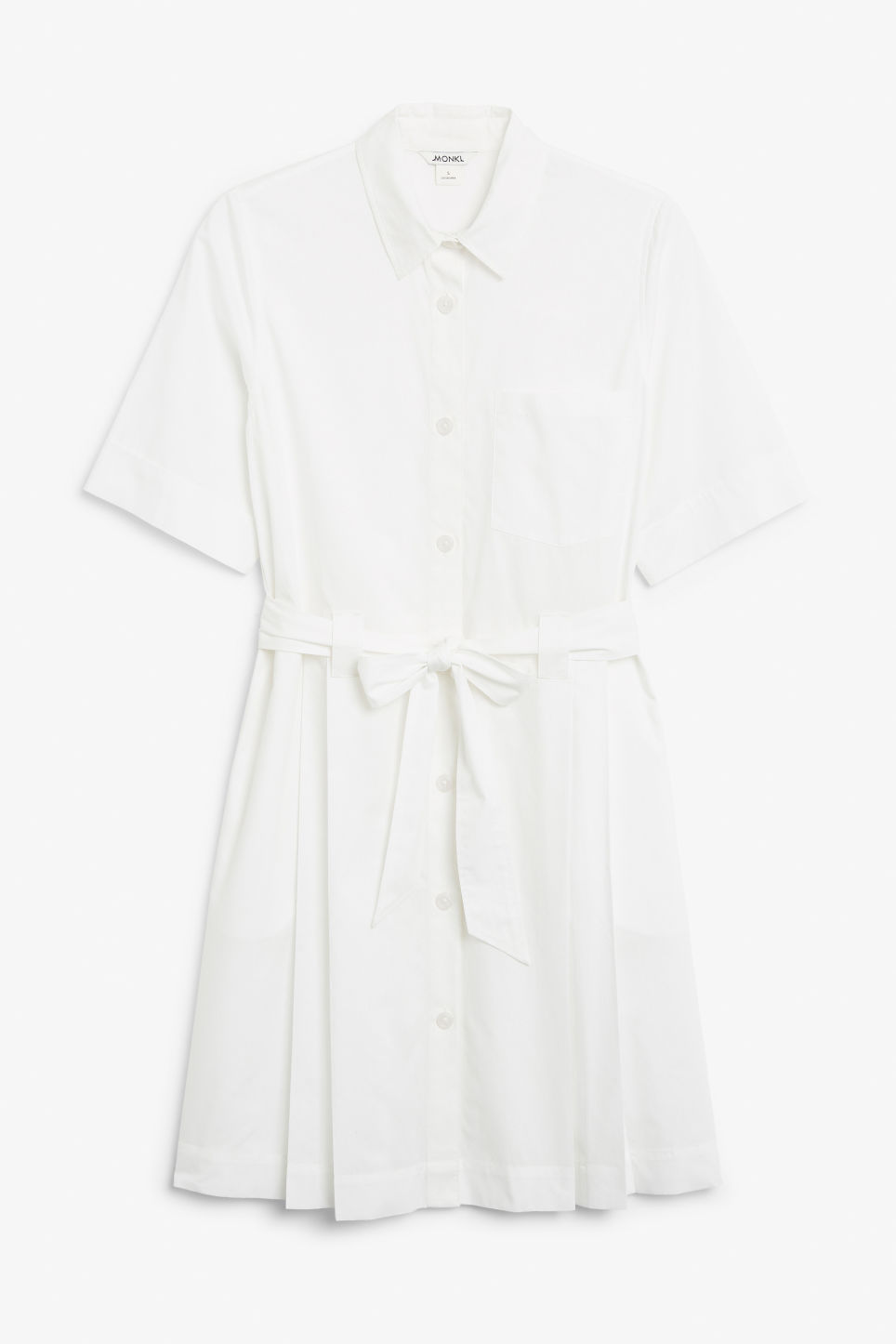 Front image of Monki tie-waist shirt dress in white