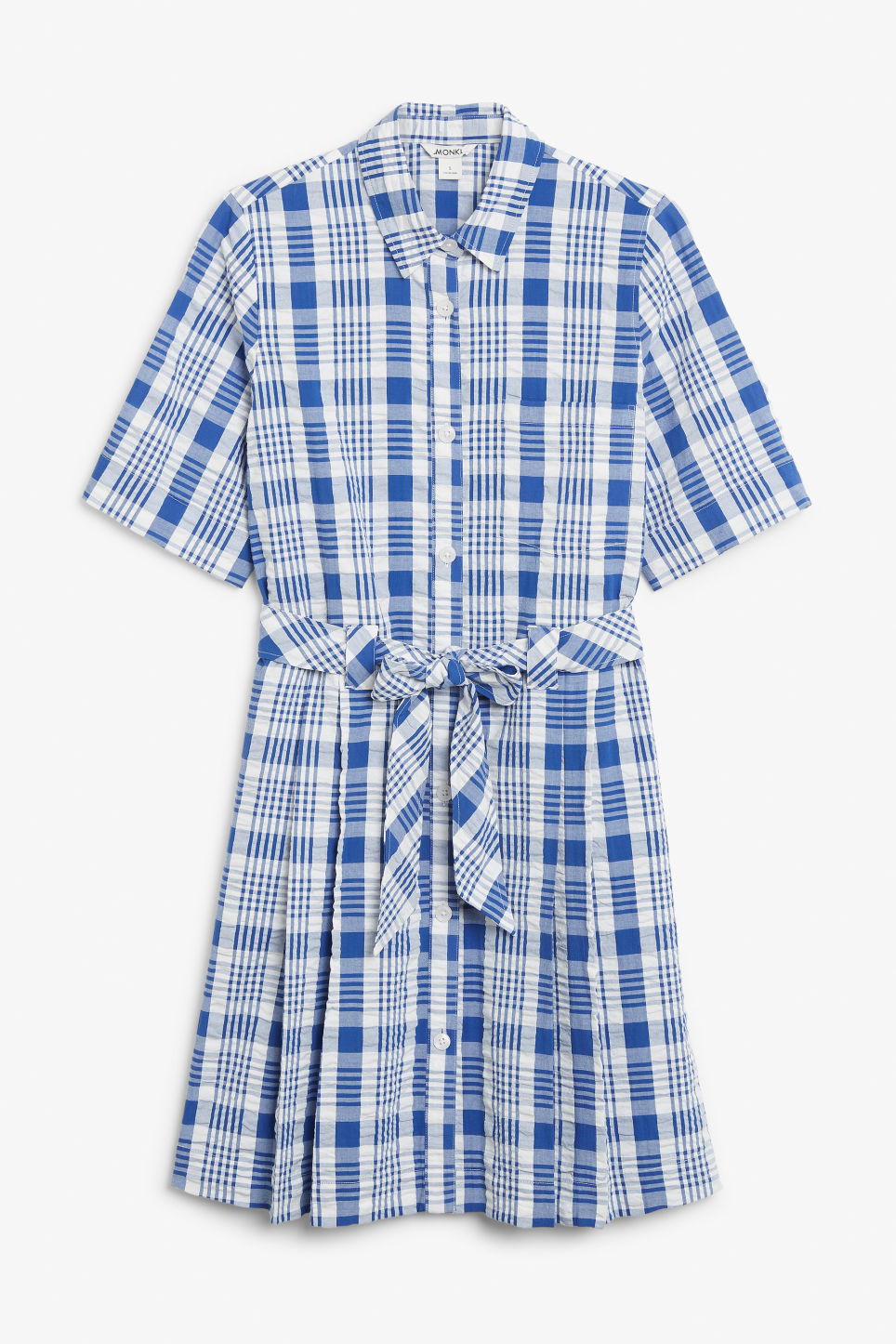 Front image of Monki tie-waist shirt dress in blue