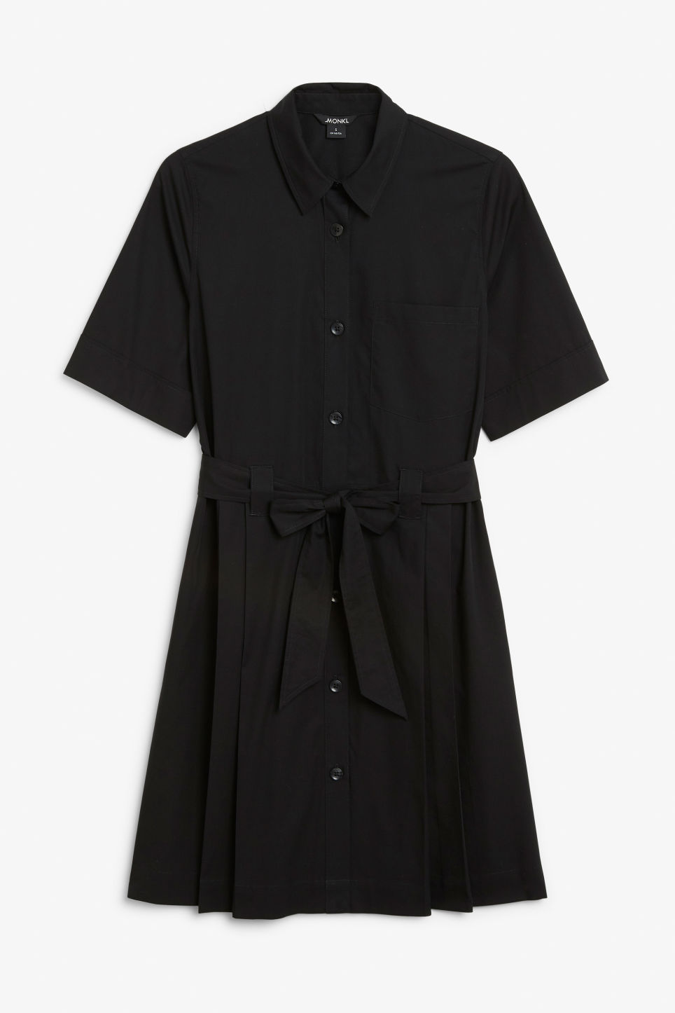 Front image of Monki tie-waist shirt dress in black