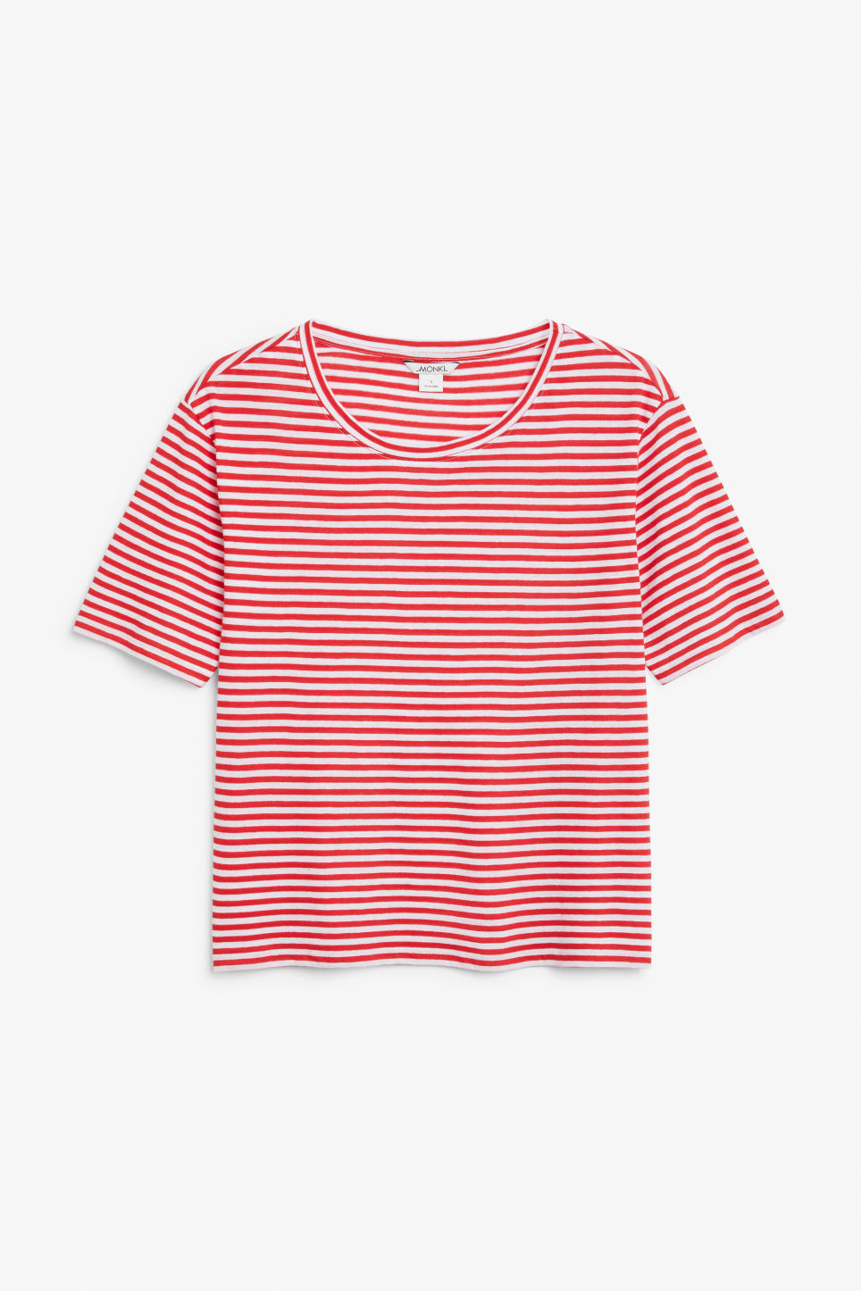 Front image of Monki organic cotton t-shirt in red
