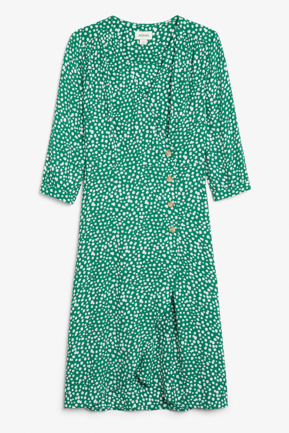 Front image of Monki buttoned wrap dress in green