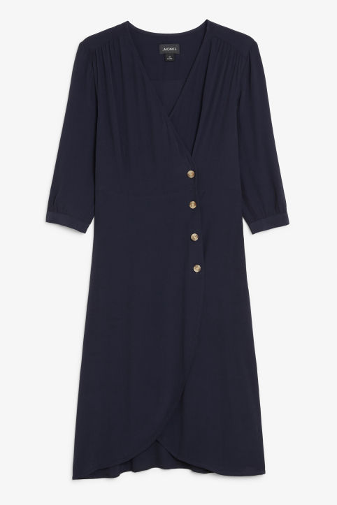 Buttoned wrap dress