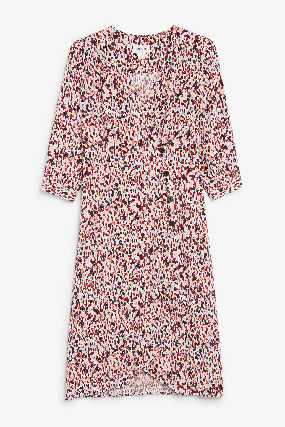 Front image of Monki buttoned wrap dress in white