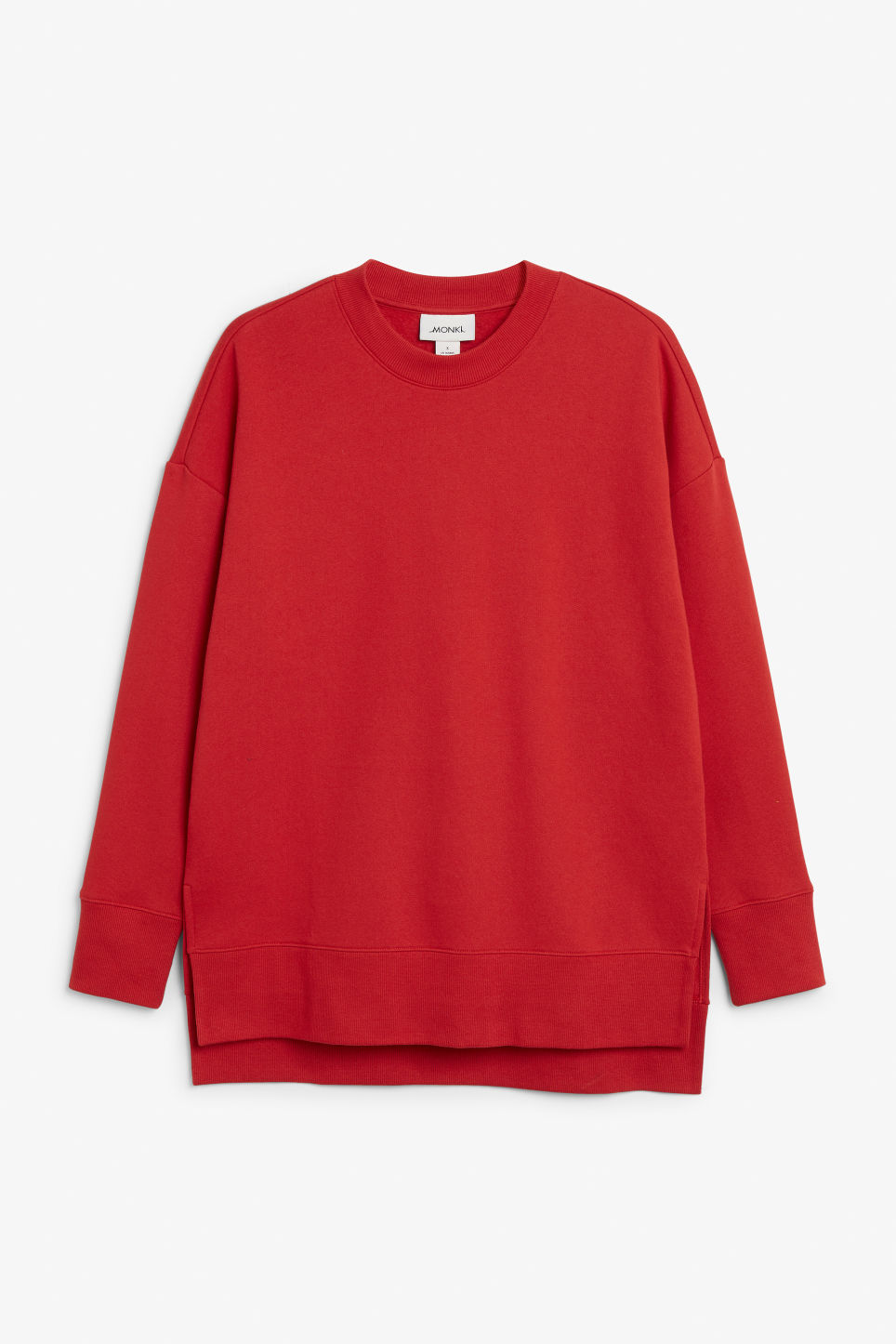 Front image of Monki asymmetrical sweatshirt  in red