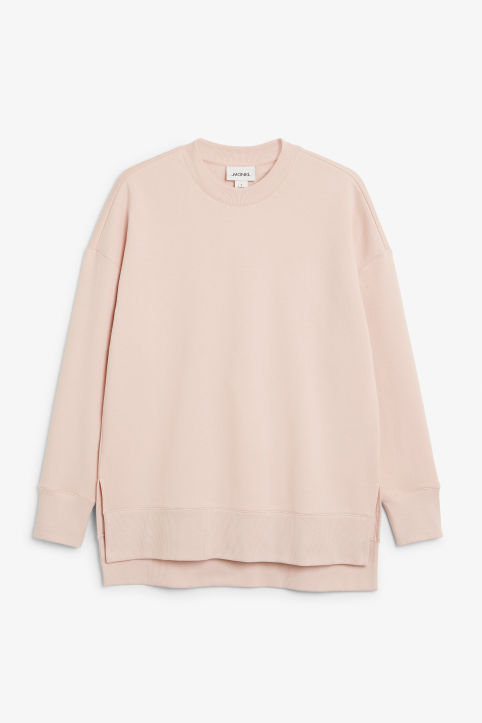 Front image of Monki asymmetrical sweatshirt  in pink