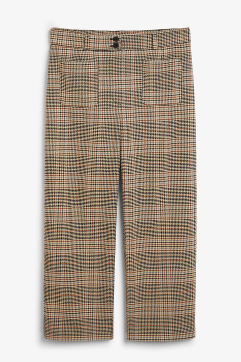 Front image of Monki houndstooth trousers in orange