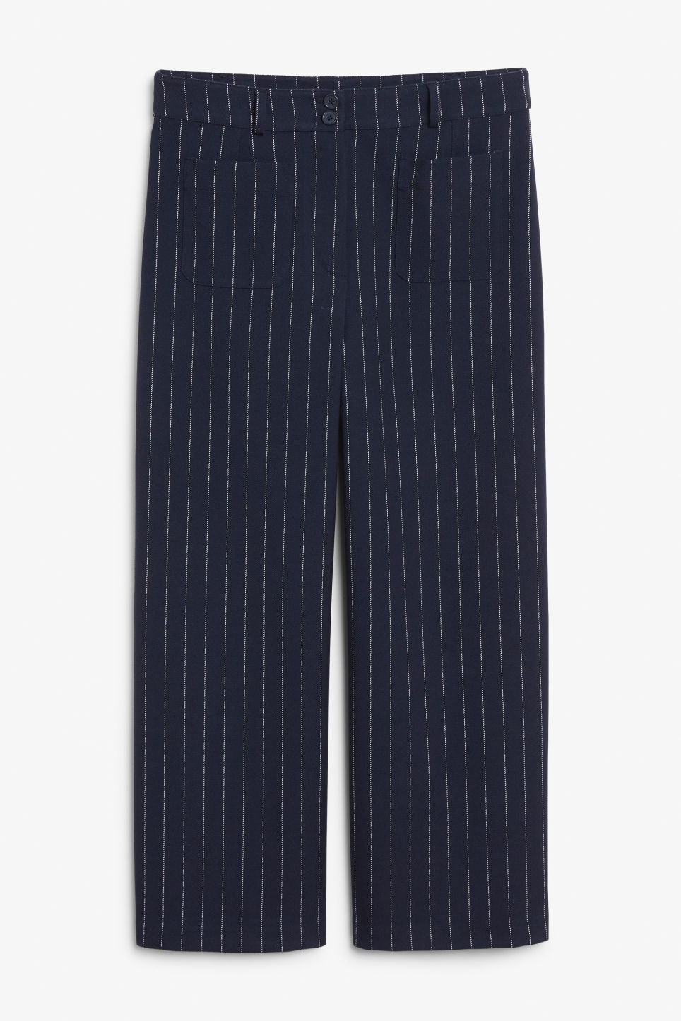 Front image of Monki straight-leg trousers in blue