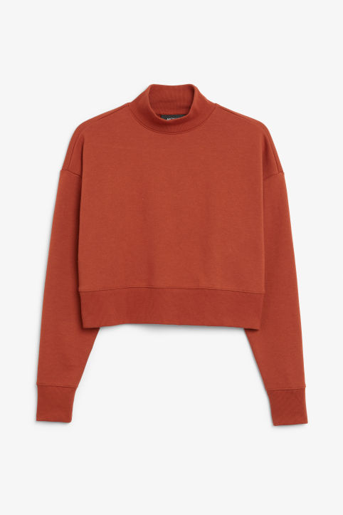 Front image of Monki high-neck sweater in orange
