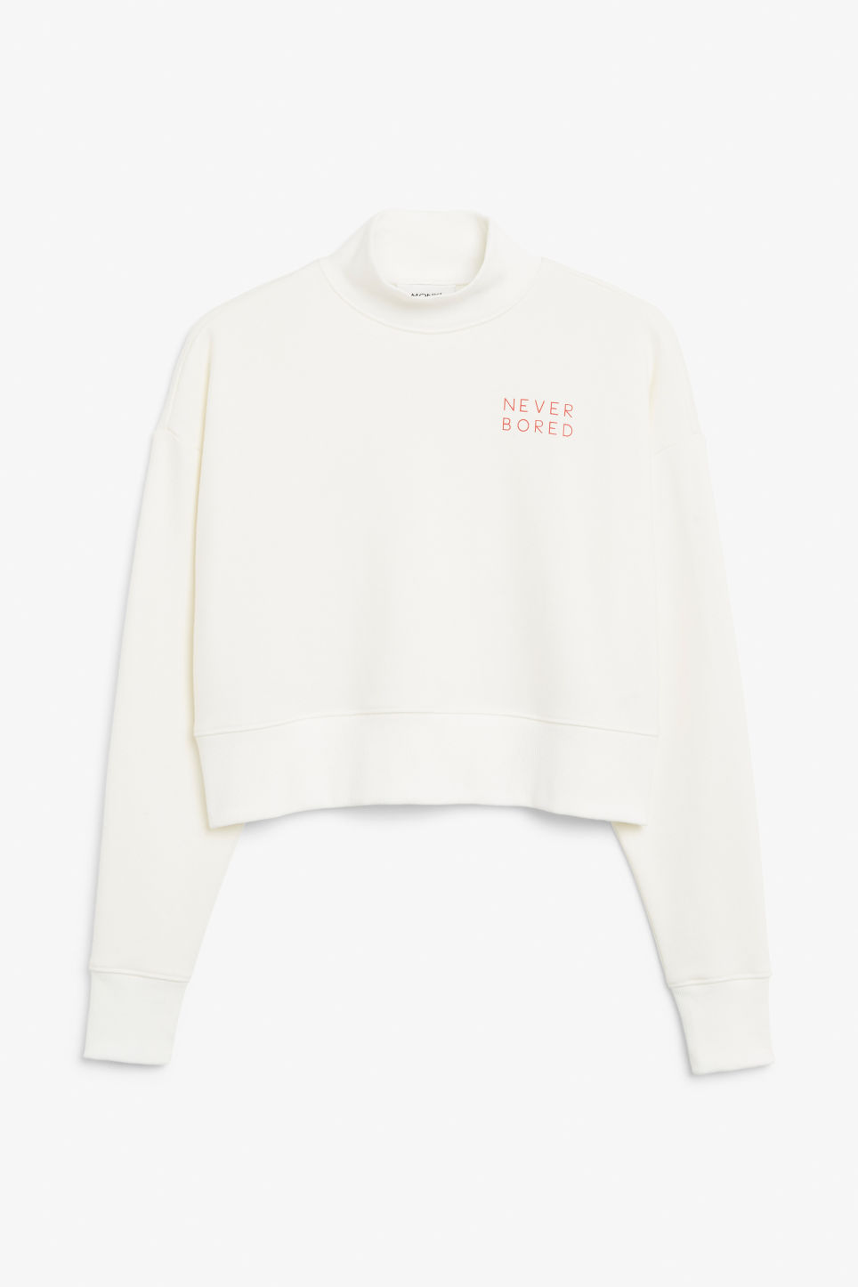 Front image of Monki high-neck sweater in white