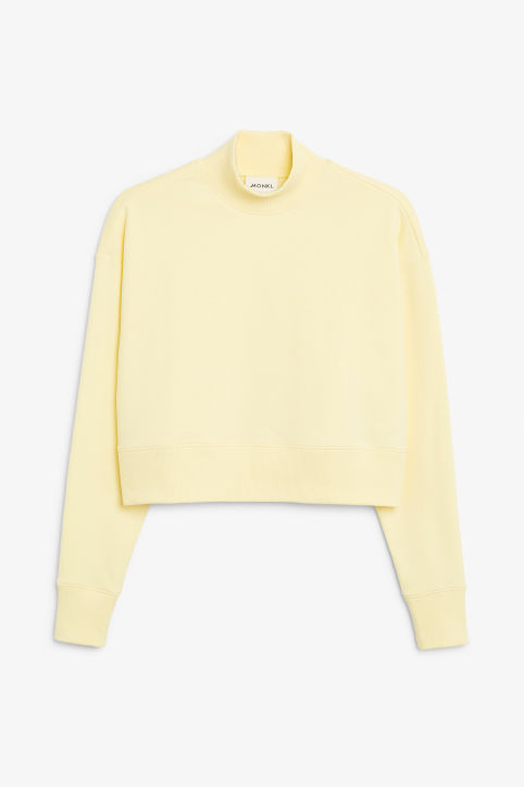 Front image of Monki high-neck sweater in yellow