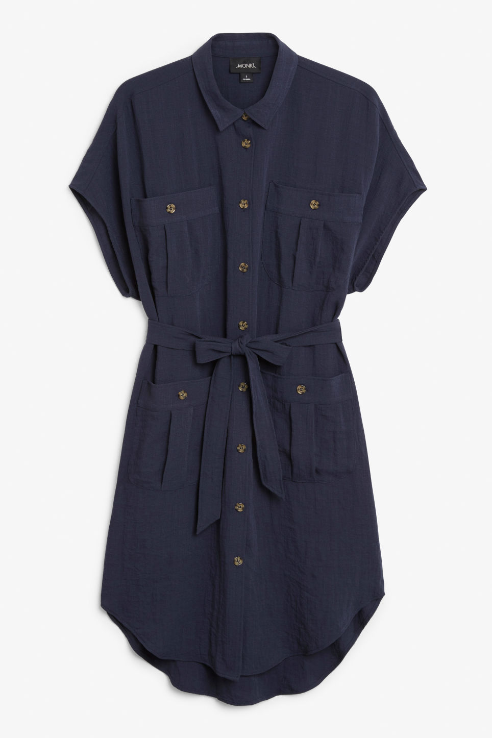Front image of Monki buttoned pocket dress in blue